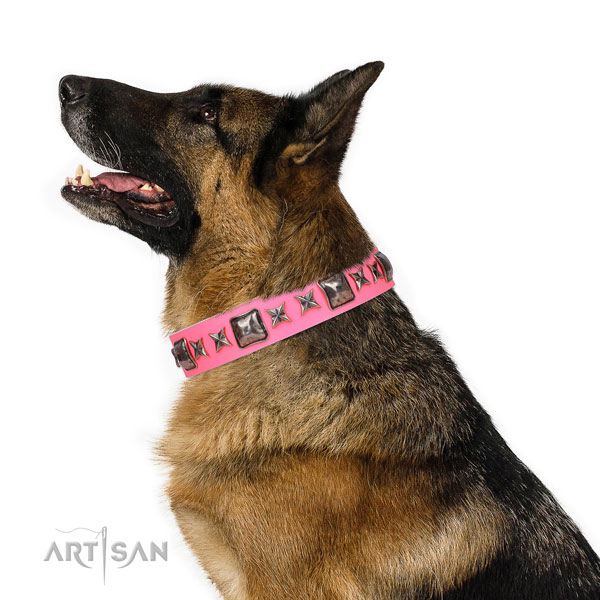 German Shepherd stunning genuine leather dog collar for daily walking title=German Shepherd full grain natural leather collar with adornments for easy wearing
