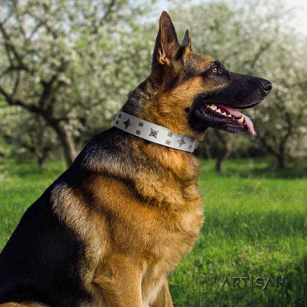German Shepherd best quality natural genuine leather dog collar with amazing decorations