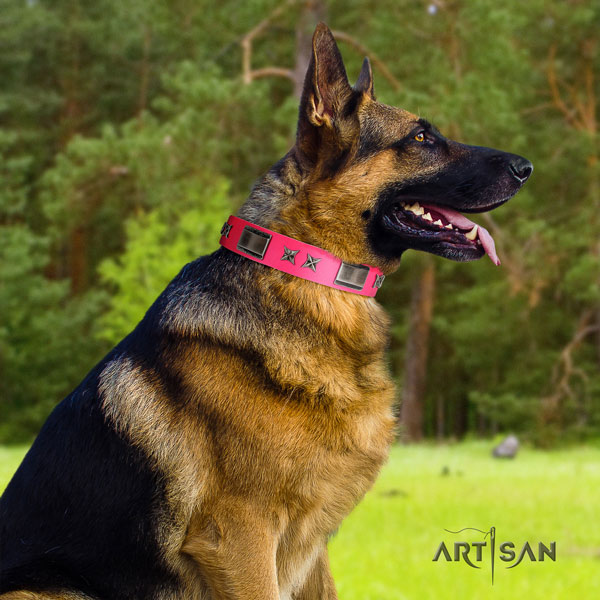 German Shepherd decorated genuine leather dog collar for your handsome four-legged friend