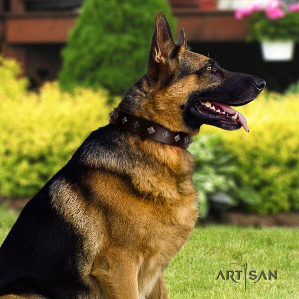 German Shepherd best quality genuine leather dog collar with fashionable decorations