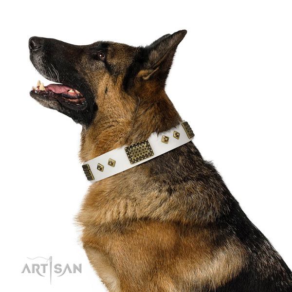 German Shepherd decorated full grain natural leather dog collar for daily use title=German Shepherd genuine leather collar with embellishments for easy wearing