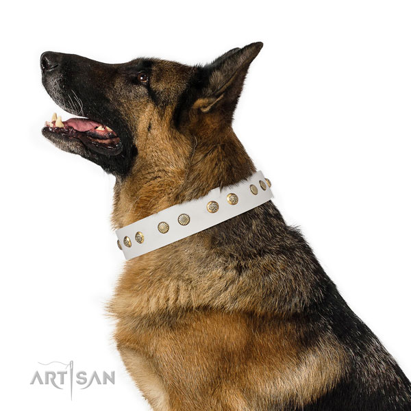 German Shepherd perfect fit full grain natural leather dog collar for walking title=German Shepherd natural genuine leather collar with decorations for handy use