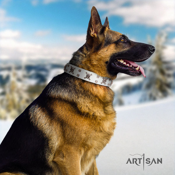 German Shepherd fine quality genuine leather dog collar with impressive adornments