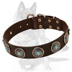 Strong genuine leather collar