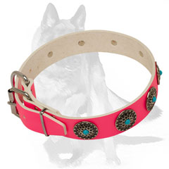 Multipurpose pink collar with blue stones