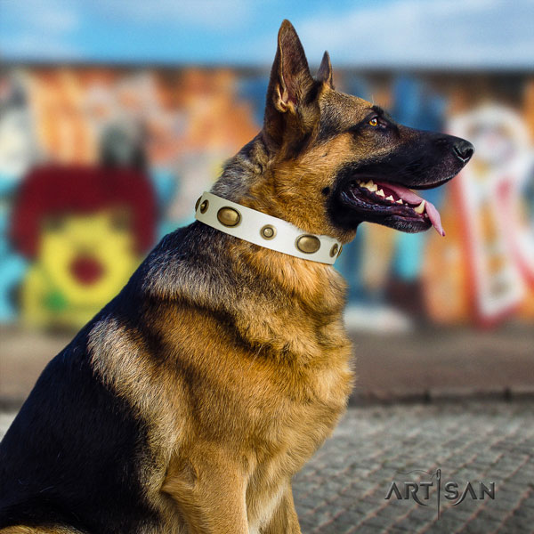German Shepherd decorated natural genuine leather dog collar for your handsome doggie