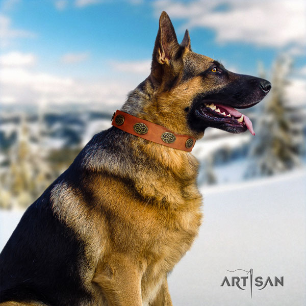 German Shepherd adorned natural genuine leather dog collar for your impressive dog