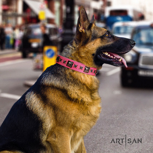 German Shepherd unique genuine leather dog collar