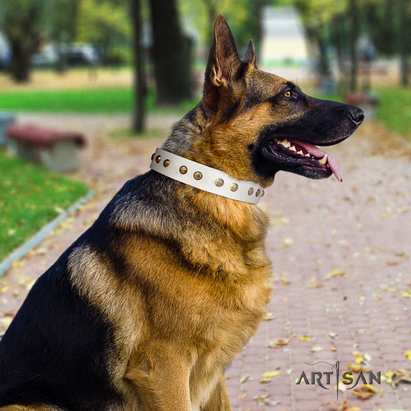 German Shepherd adorned full grain leather dog collar for your impressive four-legged friend