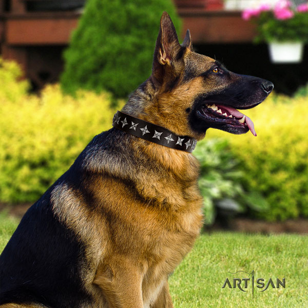 German Shepherd adorned natural genuine leather dog collar for your beautiful doggie