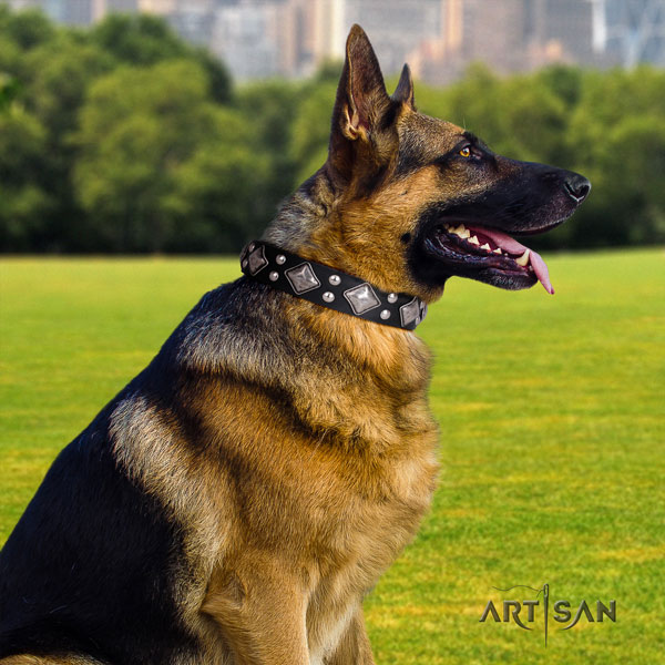 German Shepherd easy adjustable leather dog collar