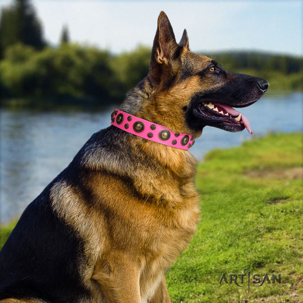 German Shepherd unique leather dog collar