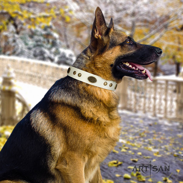 German Shepherd embellished natural genuine leather dog collar for your lovely pet