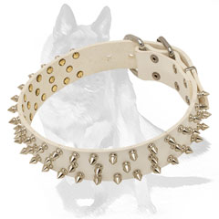 Soft leather collar with hand set spikes