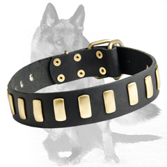 Leather  collar with non-corrosion details