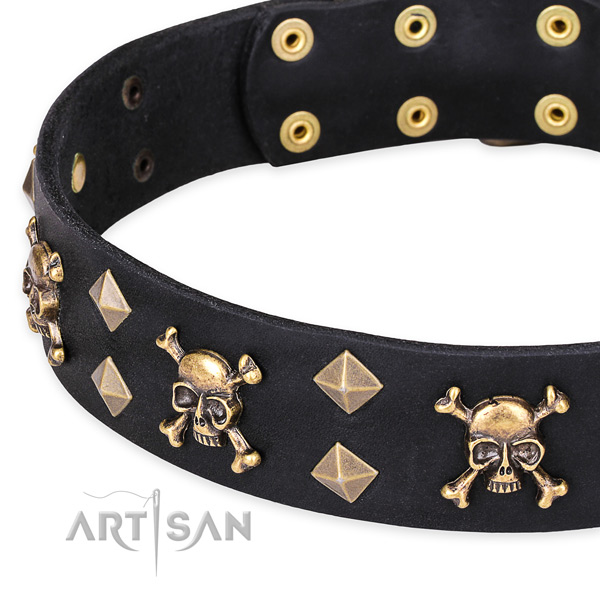 Day-to-day leather canine collar with unique design decorations
