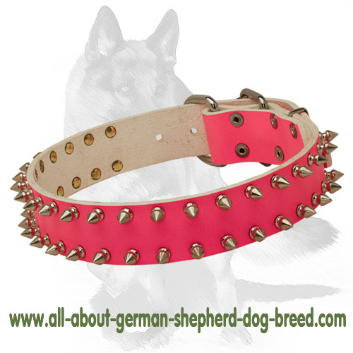Pink leather dog collar with elegant buckle
