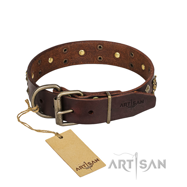 Reliable leather dog collar with non-rusting elements