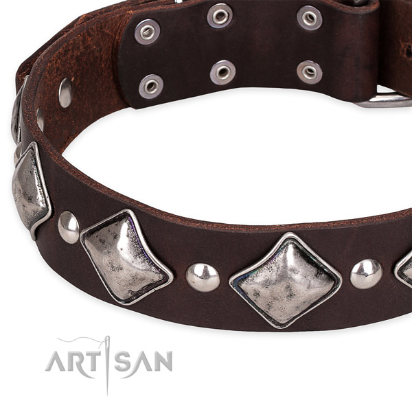 Easy to adjust leather dog collar with extra strong rust-proof set of hardware