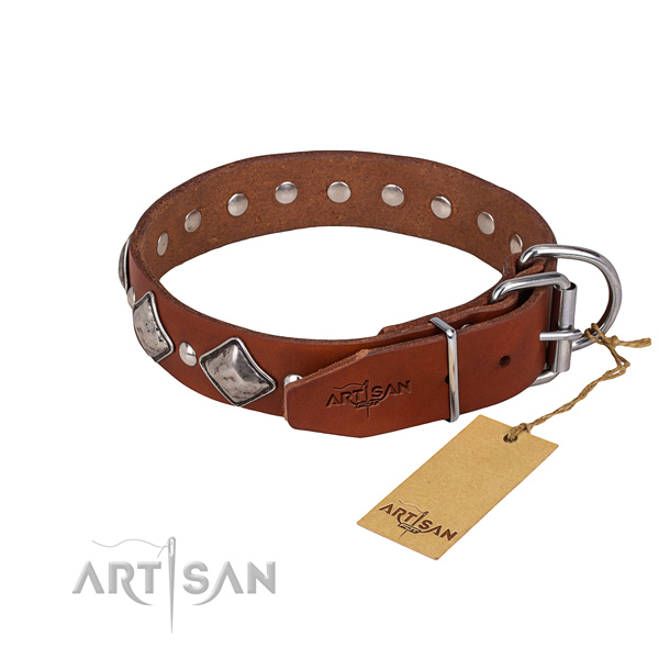 Natural leather dog collar with smooth leather strap