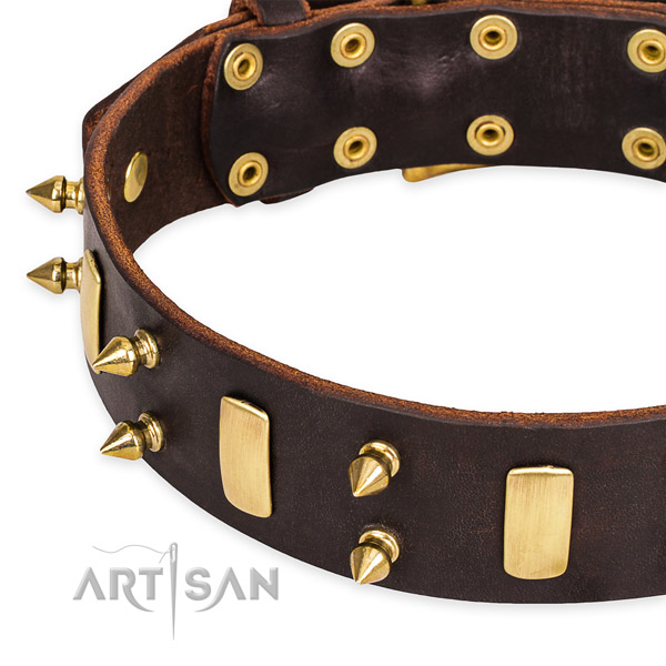 Leather dog collar with worked out edges for pleasant strolling