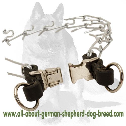 Dependable chrome plated pinch dog collar