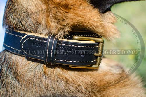 Non-rubbing leather dog collar
