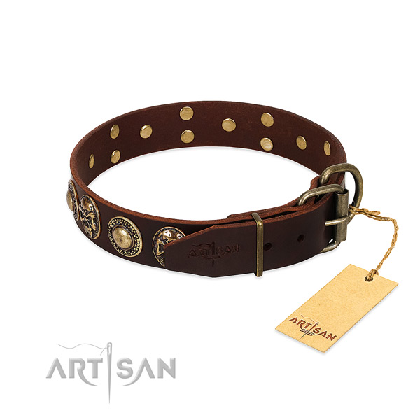 Daily use natural genuine leather collar with decorations for your pet