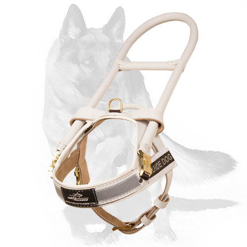 White leather dog Harness for assistant dogs