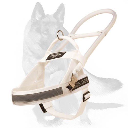 White nylon dog Harness for guide dogs