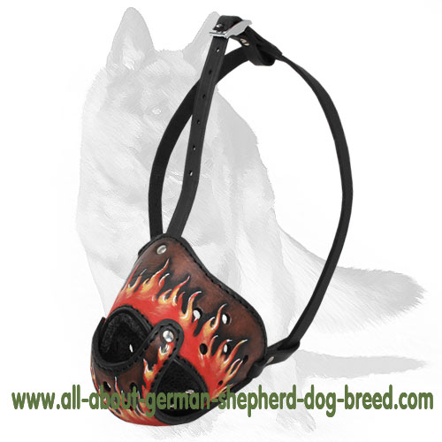 'Cool Off' - Deluxe Art Leather Dog Muzzle for GSD