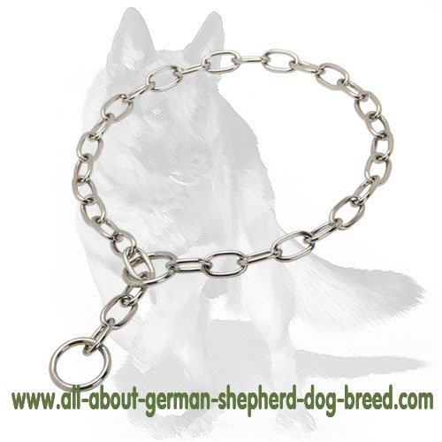 German Shepherd Chrome Plated Fur Saver Dog Collar for Daily Training 1/8 inch (3.2 mm)