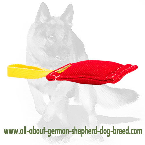 German Shepherd French Linen bite tug with handle