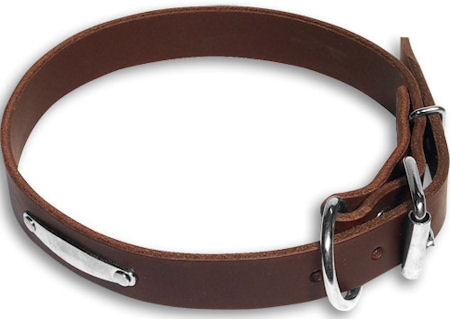 Flat Leather Brown collar 26'' for GSD /26 inch dog collar-C456