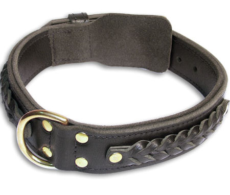 Braided black collar 24'' Alsatian Dog/24 inch dog collar-C55s33