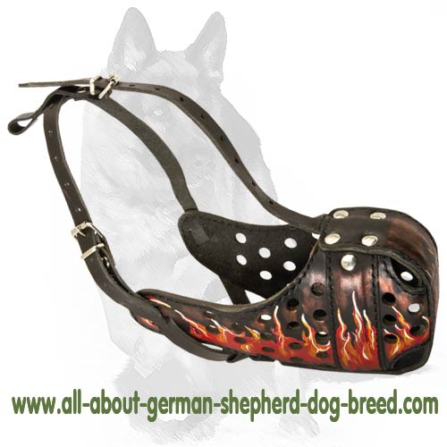 'Blaze Cruise' German Shepherd Muzzle - Burning Flames Dog Muzzle for Agitation/Attack Training