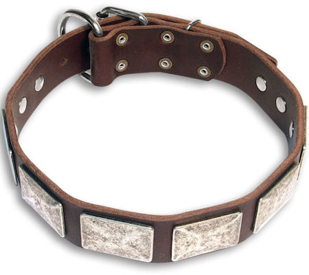 Vintage Brown dog collar 27'' for GSD /27 inch dog collar-c83