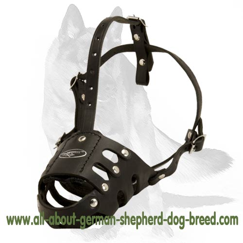 'The Good Guy Eleganza' - German Shepherd Everyday Leather Muzzle for Walking and Training
