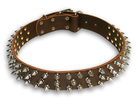 Spiked Leather Brown collar 27'' for Alsatian Dog/ 27 inch dog collar-S44