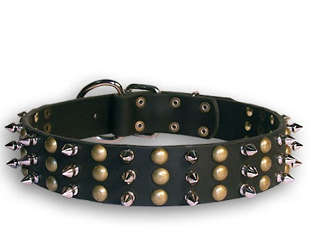 Leather Spikes and Studs Black collar 26'' for Alsatian Dog /26 inch dog collar-S59