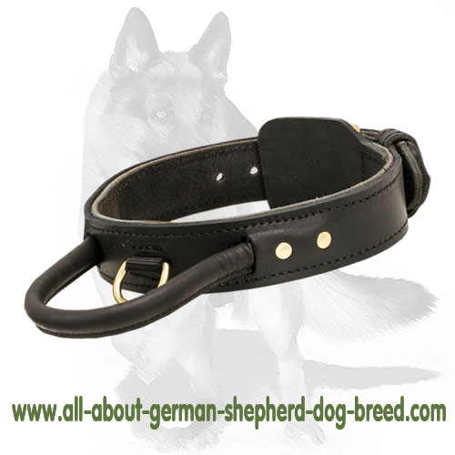 Heavy Leather Dog Collars w/Handle 2 layers for German Shepherd