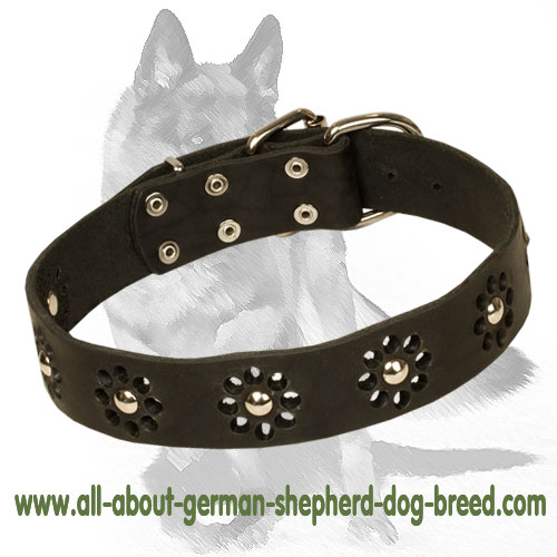 German Shepherd Floral Leather Dog Collar