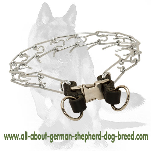 German Shepherd Chrome Plated Pinch Dog Collar for Easy Training 1/6 inch (3.99 mm)