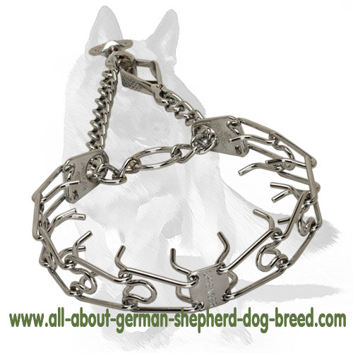 Chrome Plated Dog Pinch Collar with swivel and small snap hook 1/6 inch (3.9 mm)