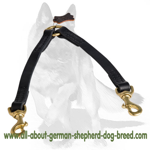 "Leather coupler dog leash for walking 2 dogs, Length 12"" -LN101"