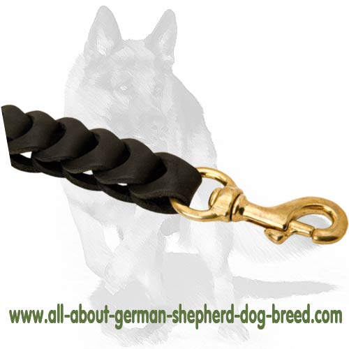 Durable leather Leash with Brass snap-hook