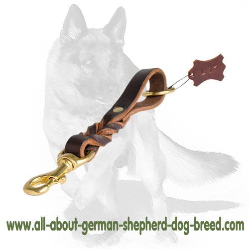 Adjustable leather dog leash with handle