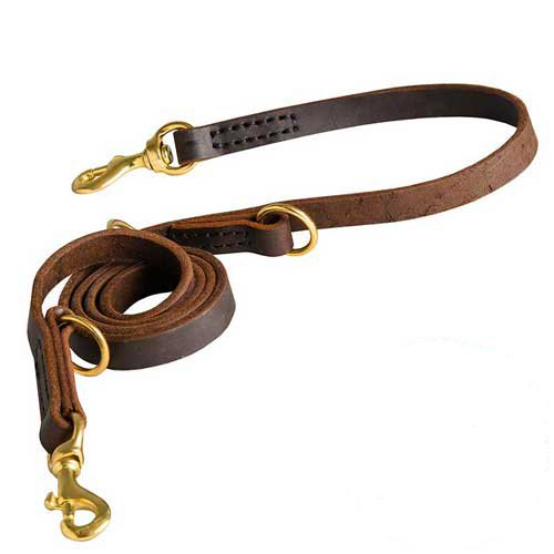 Easy convertible leather dog leash