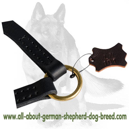 Leather dog coupler supplied with 2 snap hooks