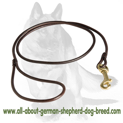 German Shepherd Leather Leash for Dog Shows [L38##1070 6mm in width